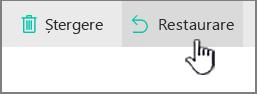 SharePoint Online restaurarea butonul evidențiată