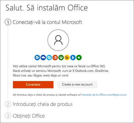 Afișează pagina de deschidere pentru setup.office.com