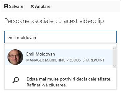 Office 365 Video asociat persoane