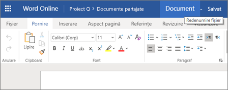 Faceți clic pe bara de titlu pentru a modifica numele unui document Word Online