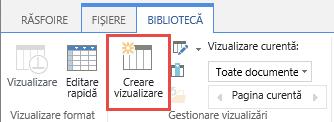Butonul Creare vizualizare pentru biblioteca SharePoint din panglică.