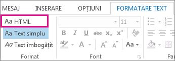 Opțiunea de format HTML din fila Formatare text dintr-un mesaj