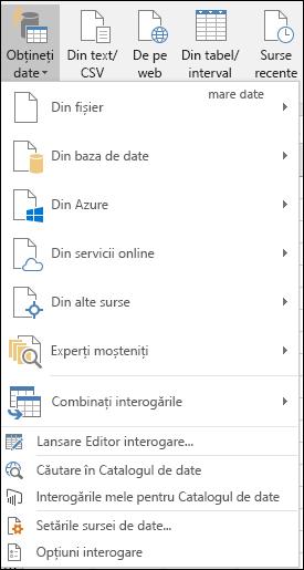 Date > Obțineți și transformarea > Preluare date opțiuni