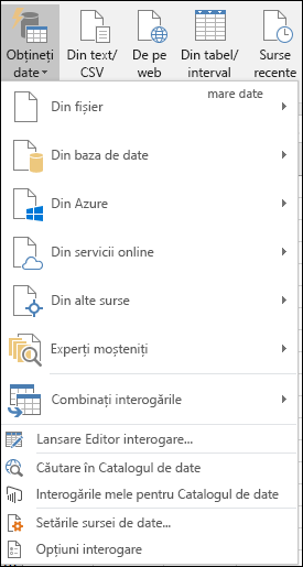 Opțiuni Date > Obținere și transformare > Preluare date