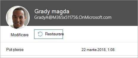 Captură de ecran care arată comanda pentru a restaura un utilizator în administrarea Office 365.