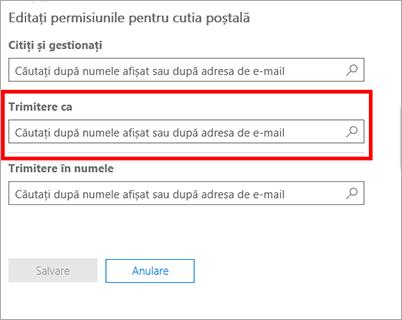 Captură de ecran: Permiteți unui alt utilizator să trimită e-mail cu această identitate de utilizator