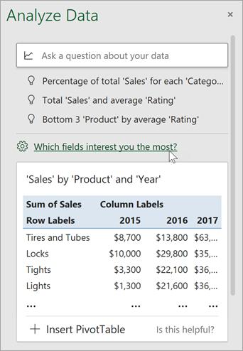 Panoul Analiză date cu linkul pentru a specifica ce câmpuri să utilizați.