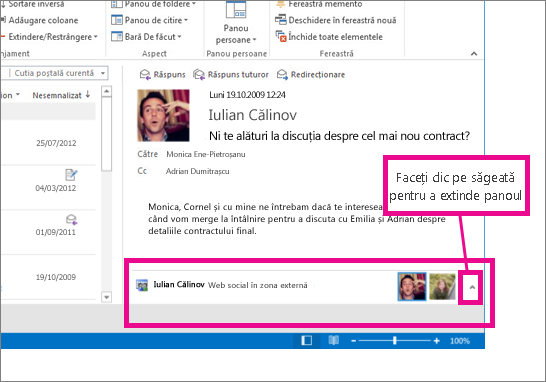 Outlook Social Connector este minimizat în mod implicit
