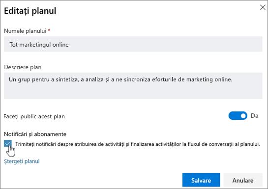 ClickSend notificări pentru a accesa e-mailul despre atribuire de activitate și finalizarea activității