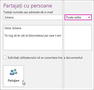 Captură de ecran a interfeței cu utilizatorul Partajare din OneNote 2016.