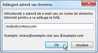 Adresa sau domeniul caseta de dialog Adăugare