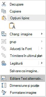 Meniul text alternativ editare PowerPoint pentru imagini