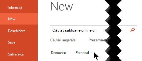 Sub fișier > nou, selectați opțiunea personale pentru a vedea șabloanele personale