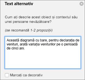 Caseta de dialog Excel 365 scrieți Text alternativ pentru PivotChart