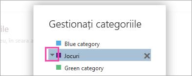 Captură de ecran a săgeții de lângă o categorie