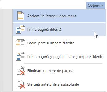 Butonul Opțiuni antet și subsol din Word Online