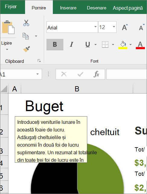 Clip de ecran cu interfața de utilizator Excel afișând instrucțiuni predefinite