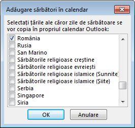 Caseta de dialog Țară/regiune pentru selectarea sărbătorilor