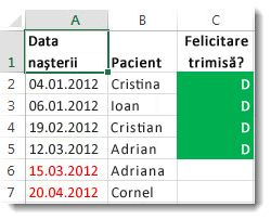 Exemplu de formatare condiționată în Excel
