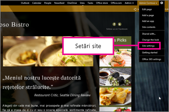 În instrumentul GoDaddy Website Builder, alegeți Site settings