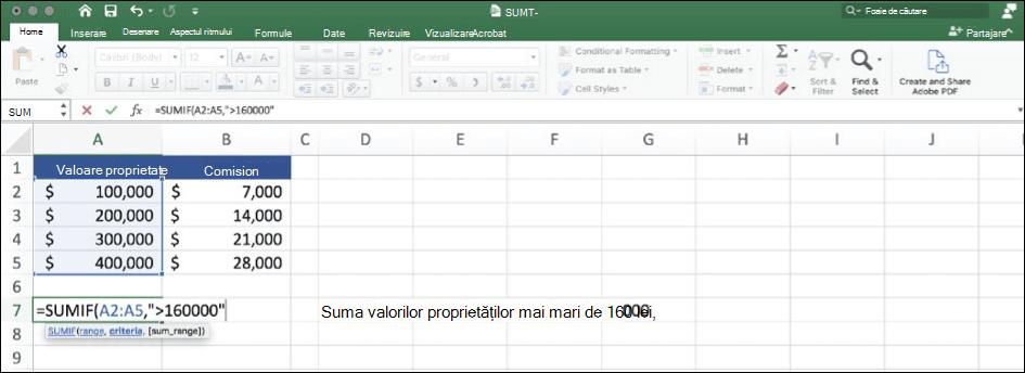 Captură de Excel a datelor utilizând funcția SUMIF