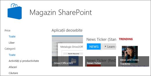Vizualizarea de selecție de aplicația Magazin SharePoint