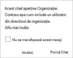 Captură de ecran afișând notificarea că chatul este un chat de organizație
