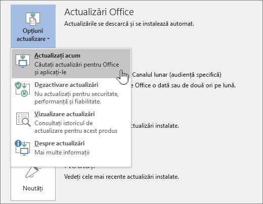 Obțineți acum butonul actualizări Office Insider