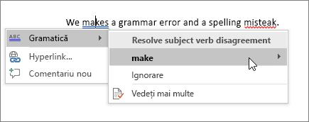 Exemplu de corectare ortografică și gramaticală în Office 365