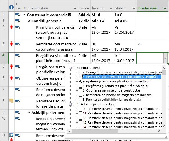 Captură de ecran a meniului vertical al coloanei predecesoare din Project