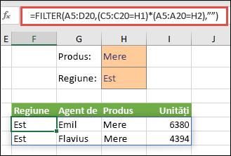 Utilizăm FILTER cu operatorul de înmulțire (*) pentru a returna toate valorile din zona de matrice respectivă (A5:D20) care conțin Mere ȘI se află în regiunea estică.