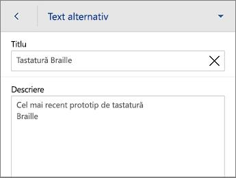 Comanda Text alternativ de pe fila Imagine