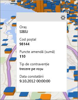 Cartelă de date afișând detaliile punctului de date