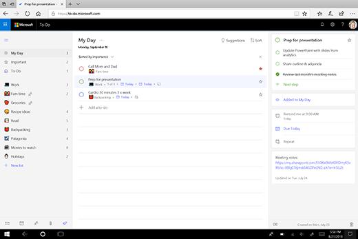 Captură de ecran a My Day în noua aplicație web