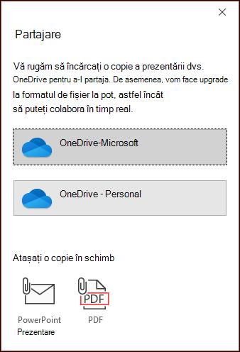 Caseta de dialog Partajare din PowerPoint se oferă să vă încarce fișierul în Microsoft Cloud, astfel încât să îl puteți partaja fără probleme.