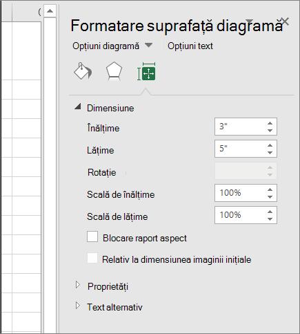 Puteți să ajustați dimensiunea diagramei în caseta de dialog Formatare suprafață diagramă