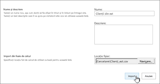 Caseta de dialog nouă aplicație cu numele și fișier locație completate, importul evidențiată