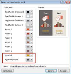 Modificarea culorii textului unui hyperlink
