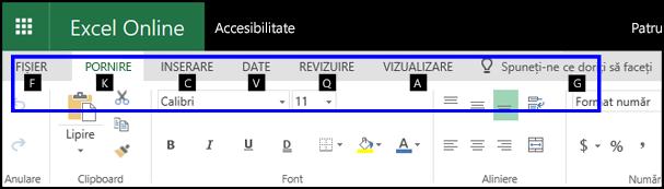 Panglica ExcelOnline, afișând fila Pornire și Sfaturi pentru taste pe toate filele