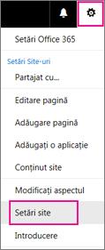 În colțul din dreapta sus, alegeți butonul Setări, apoi alegeți Setări site.