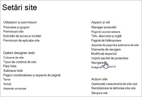 Pagina Setări site din SharePoint clasic, cu cursorul selectând navigarea