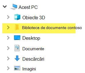 În Explorer, biblioteca mapată apare ca intrare de folder sub acest PC.