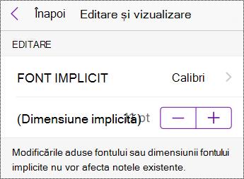 Opțiunile de modificare a tipului și dimensiunii fontului în Setări pe iPhone.