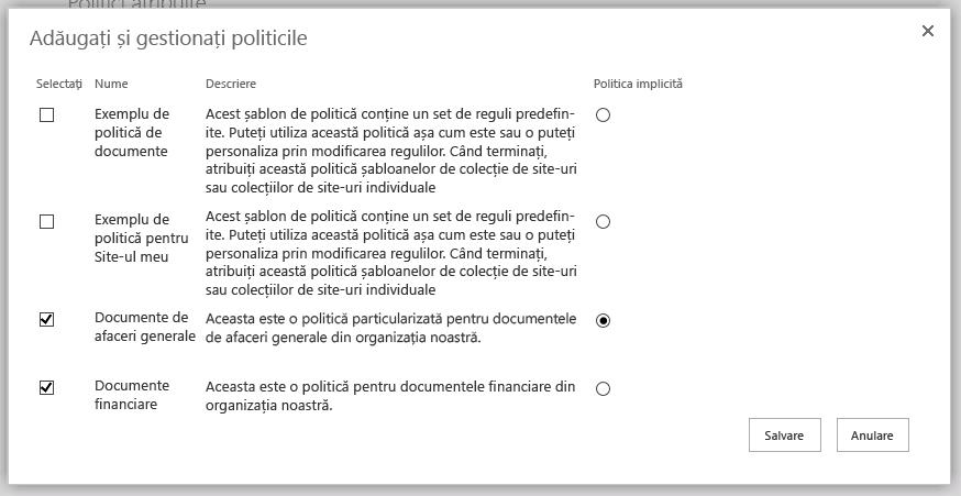 Adăugarea și gestionarea politicilor de pagină
