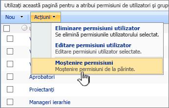 Moștenire permisiuni opțiune din meniul acțiune