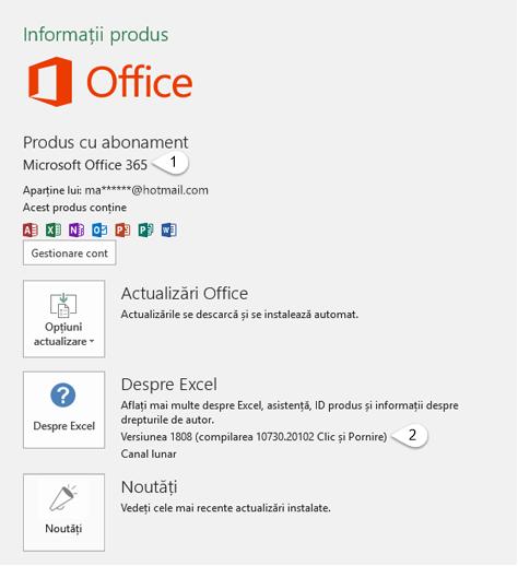Pagina de cont care include Informații despre utilizator și produs