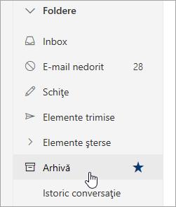 O captură de ecran cu folderul Arhivă