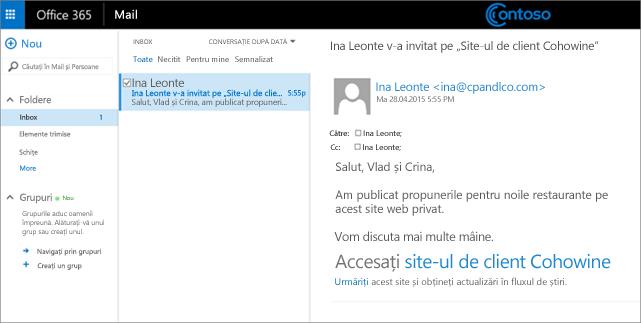 Un mesaj de e-mail eșantion pentru a invita clienții să acceseze un subsite de client.