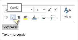 Selectați textul, apoi faceți clic pe Cursiv