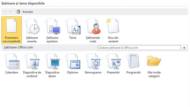 Selectați șabloane din mediul online sau de pe desktop